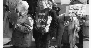 Protesters against divorce at a rally outside the Dáil where they prayed against its introduction in  1995. File photograph: Cyril Byrne/The Irish Times
