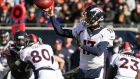 Quarterback Brock Osweiler of the Denver Broncos: made a winning start in relief of quarterback Peyton Manning as the Broncos beat the Chicago Bears at Soldier Field  in Chicago.  Photograph: Jonathan Daniel/Getty Images