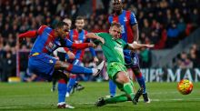 Crystal Palace's Jason Puncheon shoots at  goal during last night's Premier League clash at Selhurst Park. Photograph: Eddie Keogh/Reuters