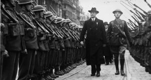 Eamon de Valera  inspects troops outside the GPO in Dublin on the 25th anniversary of the 1916 Easter Rising: The English have an innate distaste for de Valera because he personifies an independent Irish national identity, claims historian Ronan Fanning. Photograph: Keystone/Getty Images