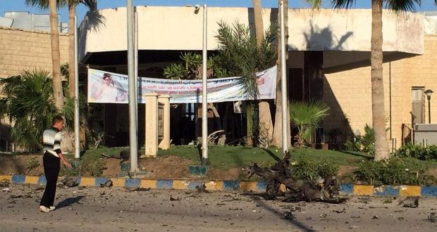 Damage outside the Swiss Inn hotel in the Egyptian town of El-Arish following an attack on the hotel by two suicide bombers and a gunman. Photograph: AFP/Getty Images