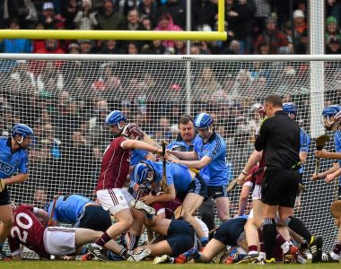 Players from both teams get involved in a scuffle during the AIG Fenway Hurling Classic between Dublin and Galway in Boston. Photograph: Ray McManus/Sportsfile