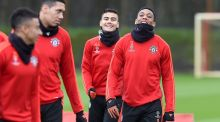 Anthony Martial (right) with Andreas Pereira, Chris Smalling and Jesse Lingard  during a Manchester United  training session at  Carrington ahead of the Champions League game with PSV Eindhoven on Wednesday. Photograph:  Martin Rickett/PA Wire