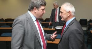 IFA Deputy President Tim O'Leary speaking with IFA Cork West Chair Richard Connell, before the IFA Executive Council Meeting at the farm Centre in Dublin. Photograph: Finbarr O'Rourke