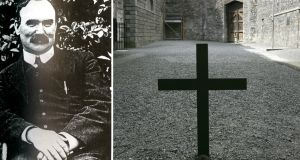 "James Connolly and the cross that marks the spot in Kilmainham Gaol wher ehe was executed: ""For his entire adult life James Connolly's defining characteristic was his total devotion to the cause of Marxism,"" argues Sean O'Callaghan. ""Nothing was allowed to get in the way"""