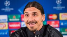 Zlatan Ibrahimovic speaks at a press conference ahead of Paris Saint-Germain's Champions League clash against Malmo. Photograph: Jonathan Nackstrand/AFP/Getty Images
