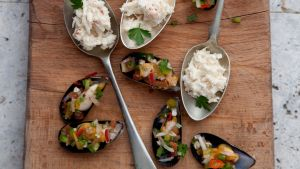 Crab and apple bites for Canape spoons australia