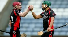 Oulart the Ballagh team mates Paul Roche (left) and Keith Rossiter were in the same class at school growing up. Photograph: Donall Farmer/Inpho.