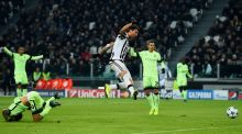 Juventus striker Mario Mandzukic scores  the opening goal during the  Champions League Group D match against  Juventus in Turin. Photograph: Mike Hewitt/Getty Images