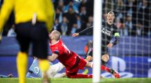 PSG's Swedish striker Zlatan Ibrahimovic  scores his sides's third goal in the   Champions League Group A match against his former side  Malmo FF  at the Malmo New Stadium. Photograph: Andreas Hillergren/EPA