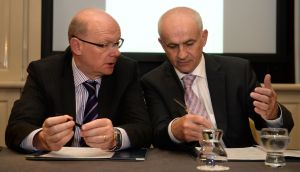 The revelation that former Irish Farmers' Association general secretary Pat Smith (left) was to receive a €4.7 million combined pension and severance package has led to the resignation of the association's president, Eddie Downey (right). Photograph: Dara Mac Dónaill/The Irish Times.