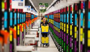 The Amazon Fulfilment Centre prepares for Black Friday in Hemel Hempstead, England. Photograph: Jeff Spicer/Getty Images