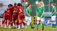 Ireland's Denise O'Sullivan looks dejected after Spain's third goal in their 2017 European Championships qualifier. Photo: Cathal Noonan/Inpho