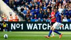 Jamie Vardy won a controversial penalty and scored as Leicester City beat Manchester United 5-3 last season. Photograph: Getty