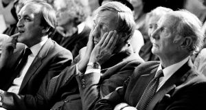 Former taoiseach Jack Lynch (right), with David Andrews (centre) and Sean Barrett at the official opening of the first multi-denominational school, Dalkey school Project National School, in 1984. Photograph: Matt Kavanagh/The Irish Times