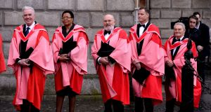 Recipients of Honorary Degrees at Trinity College. From left: Fr Peter Mc Verry, Graca Machel, Senator David Norris,  Rory O'Neill and Tomi Reichental. Photograph: Cyril Byrne/The Irish Times