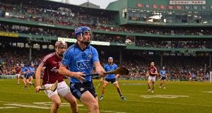 Dublin and Galway in action in  Fenway Park in Boston, Massachusetts. Photograph: CJ Gunther/EPA