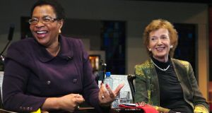 Human Rights Campaigner Graca Michel with Mary Robinson during her visit to Ballina, Co Mayo, where she delivered the second Mary Robinson Centre International Human Rights lecture. Photograph: Henry Wills.