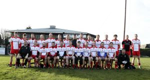 The Tir Chonaill Gaels squad ahead of the 2014 All-Ireland quarter-final against Corofin. Photograph: Inpho