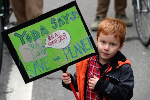Ian Devnan from Maynooth during the Climate Change protest in Dublin. Photograph: Cyril Byrne/The Irish Times