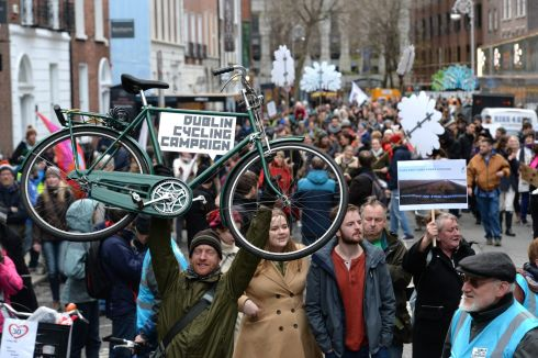 A section of the crowd during the Climate Change protest in Dublin. Groups are calling on the Government to commit to producing a climate action plan next year. Photograph: Cyril Byrne/The Irish Times