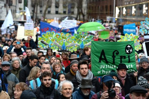 A section of the crowd during the climate change protest in Dublin. The march was intended to pressure the Government and world leaders ahead of the COP21 climate change summit in Paris. Photograph: Cyril Byrne/The Irish Times
