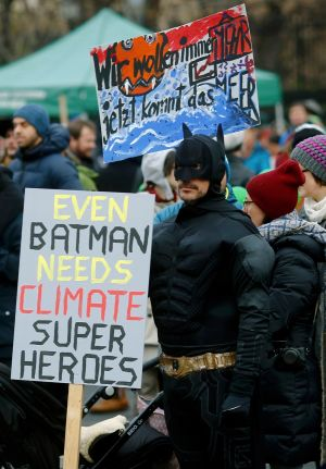 VIENNA: A protester dressed as Batman at a rally in Vienna, Austria. Photograph: Leonhard Foeger/Reuters