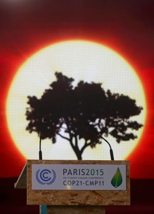 PARIS: Pictures are displayed on a screen behind the podium of a conference room at the venue for the upcoming World Climate Change Conference 2015 (COP21) at Le Bourget, near Paris. Photograph: Christian Hartmann/Reuters