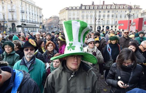 TURIN: People rally to promote climate protection in Piazza Castello, Turin, Italy. Photograph: Alessandro Di Marco/EPA