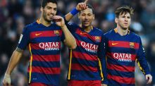 Luis Suarez,  Neymar and Lionel Messi celebrate a goal from Neymar during Barcelona's 4-0 victory over  Real Sociedad. Photograph: David Ramos/Getty Images