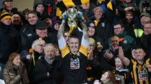 Crossmaglen's captain Paul Hearty lifts the Ulster cup. Photograph: Declan Roughan/Inpho