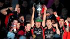Oulart-The Ballagh captain Barry Kehoe celebrates with his team-mates after beating Cuala. Photograph: Inpho