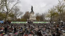 The Place de la Republique is covered in pairs of shoes  in  Paris, as part of a symbolic and peaceful rally called by the NGO Avaaz within the UN conference on climate change COP21. Photograph: Miguel Medina/AFP/Getty Images