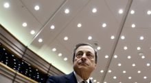European Central Bank (ECB) President Mario Draghi.  Many economists expect the ECB to cut its deposit rate, extend its quantitative easing programme, increase its monthly bond purchases, or both to help boost inflation and growth in the euro area, this week. (Photograph: Francois Lenoir/Reuters)