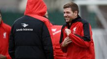 Steven Gerrard of LA Galaxy talks with Jurgen Klopp manager of Liverpool during a training session at Melwood on Monday. Photograph: John Powell/Liverpool FC via Getty Images
