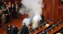 Tear gas yet again let off in Kosovo parliament