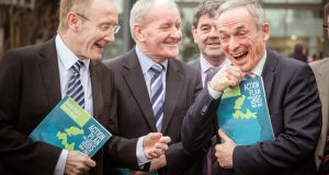 Frank Feighan, TD; Tony McLoughlin, TD; Senator Michael Comiskey; and  Minister for Jobs Richard Bruton at IT Sligo where the Minister  launched a jobs strategy for the north, aimed at creating 28,000 jobs by 2020. Photograph: James Connolly