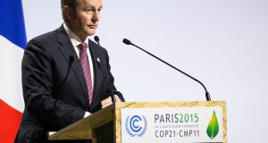 Taoiseach  Enda Kenny delivers a speech as he attends Heads of States' Statements ceremony of the COP21 World Climate Change Conference 2015 in Le Bourget, north of Paris, France. Photograph: Etienne Laurent/EPA.