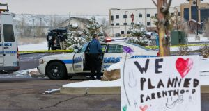 Police officers at the scene of Friday's shooting at a Planned Parenthood in Colorado Springs, Colorado, last Friday. Photograph: Nick Cote/The New York Times