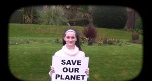 One of Mount Temple's students sending a message to world leaders at Cop21