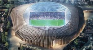 A computer generated image of what the new 60,000-seater Stamford Bridge will look like