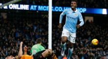 Kelechi Iheanacho celebrates scoring the second goal for Manchester City. Photograph: Phil Noble/Reuters