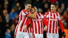 Phil Bardsley celebrates with team mates after scoring the second goal for Stoke. Photograph: Darren Staples/Reuters