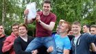 Conor Gallagher, who got nine A1s in the Leaving Cert, with classmates at St Michael's College, Ballsbridge, which is sixth in table. Photograph: Eric Luke