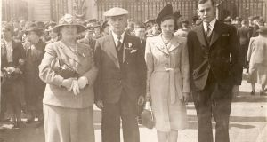 Louise Beech's grandfather Colin Armitage with his new wife Kathleen, and his parents, at Buckingham Palace to receive his medals for bravery after surviving 50 days at sea following a shipwreck in the second World War