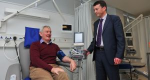 Paul Daly and  Michael O'Dwyer,professor of haematology at NUI Galway and director of Blood Cancer Network Ireland. Photograph: Boyd Challenger