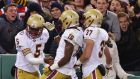 The Boston College Eagles celebrate a touchdown against the Notre Dame Fighting Irish in Boston last month. Photograph: Maddie Meyer/Getty Images