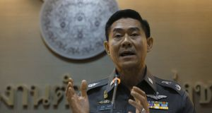 Thailand's deputy police spokesman Songpol Wattanachai during a news conference in Bangkok. Police had not received warnings about Isis activity from any other foreign intelligence agency, he told reporters.  Photograph: Chaiwat Subprasom/Reuters