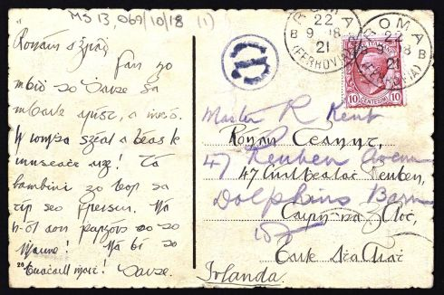 Ceannt's postcard to Rónán, which he sent from Rome.