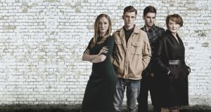 "TV3's 'Red Rock' actors Pandora McCormick, Jack Nolan, Adam Weafer and Cathy Belton. TV3's chief executive David McRedmond said: ""We was busy finalising our deal with Virgin Media."""